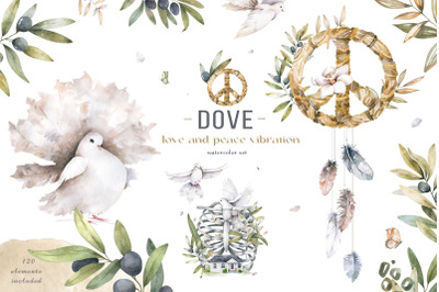Dove Peace and Love Watercolor Set