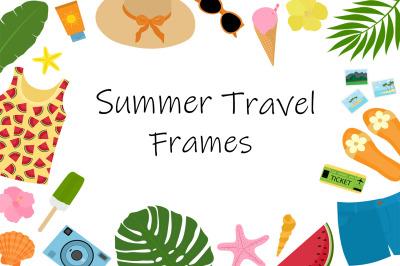 Summer frame. Travel frame. Summer postcard. Travel postcard