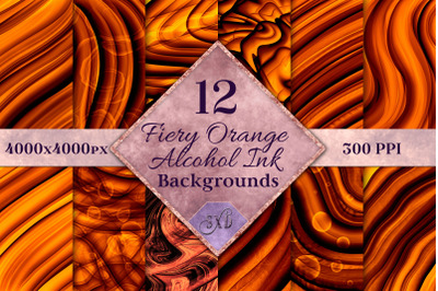 Fiery Orange Alcohol Ink Backgrounds - 12 Image Set