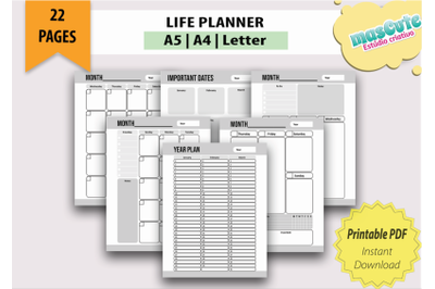Planner template Printable Pages size A5 A4