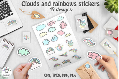 Rainbow Stickers. Printable 19 designs. Rainbow and clouds stickers. P