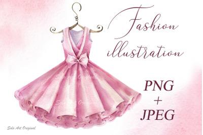 Fashion illustration Ballet dress Clipart Logo Poster