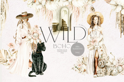 Wild boho girls and wildcat. Watercolor clipart