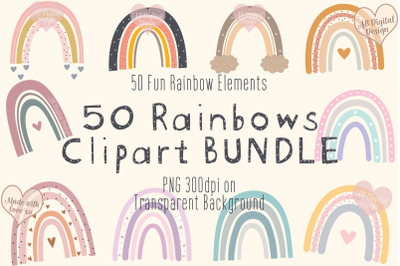 Boho Rainbows Clipart Bundle, Baby Nursery, Baby Shower, PNG