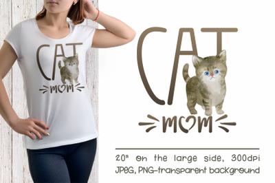 British Cat Mom Sublimation Design