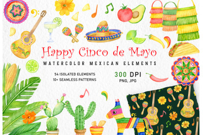 Watercolor mexican fiesta clipart set. Cinco De Mayo, summer, taco