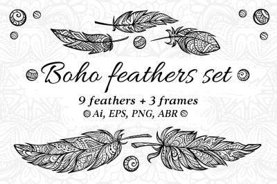 Boho style feathers set