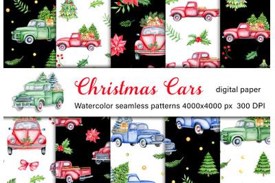 Christmas retro cars watercolor digital paper. Vintage trucks seamless