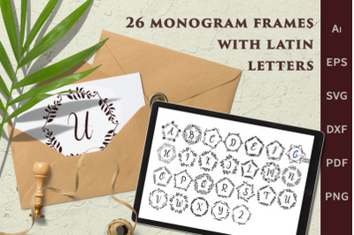 Set of botanical monograms with latin letters