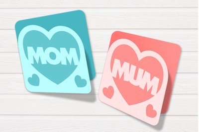 Mom and Mum Heart Layered Card   SVG   PNG   DXF   EPS