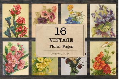 Floral bookpages, junk journal kit
