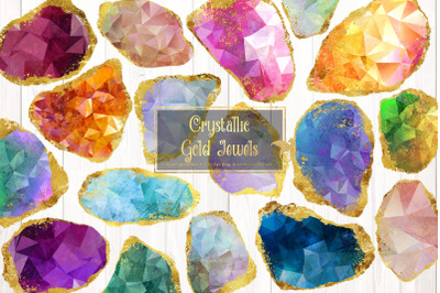 Crystallic Gold Jewels Clipart