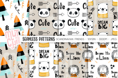Scandinavian Animals Seamless Patterns