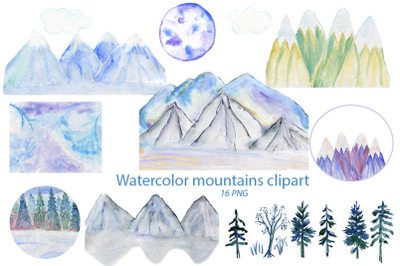 Watercolor Mountains Clipart. 16 PNG elements of mountains.