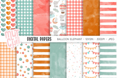 Balloon Elephant Digital Paper Set