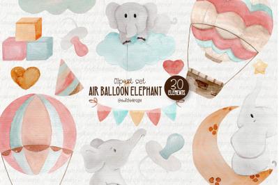 Balloon Elephant Clipart Set
