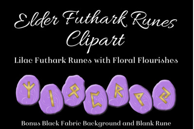 Lilac Flourish Elder Futhark Runes Set - Clipart Images