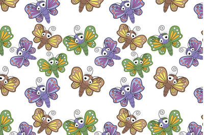 cute butterfly animal cartoon pattern