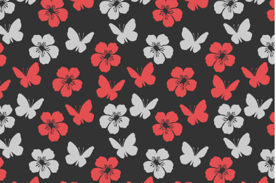 cute butterfly and flower pattern