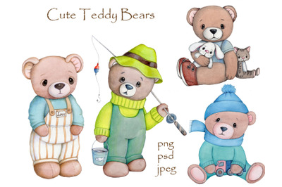 Four Cute Teddy Bears. Watercolor  llustrations.