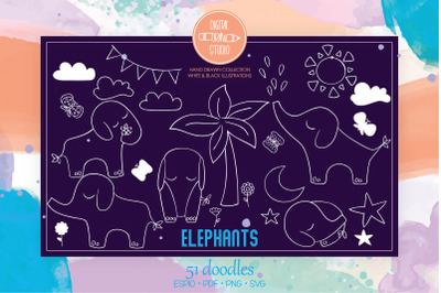 White Hand Drawn Elephants | Jungle Animal, Sun, Moon, Flower, Tree