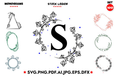 100 Monograms SVG Bundle