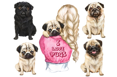 Cute pug Watercolor clipart. Pug lovers gift PNG. Girls with a puppy.