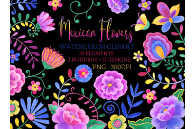 Mexican flowers Watercolor clipart Mexicana Fiesta party clip art