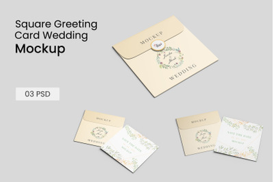 Square Greeting card Wedding and envelope mockup