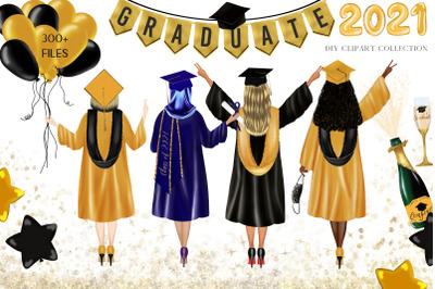 Graduation girls Clipart. DIY School