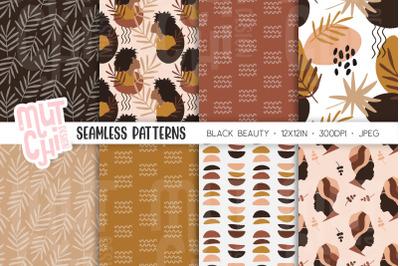 Beautiful Black Woman Seamless Patterns