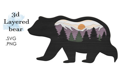 3D Layered SVG -Multilayered SVG Bear- Layered SVG Animal
