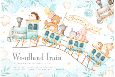 Woodland Train Watercolor Clip Arts