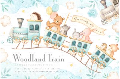 Woodland Train Watercolor Clip Arts