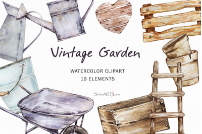 Watercolor Garden wooden and iron tools clipart