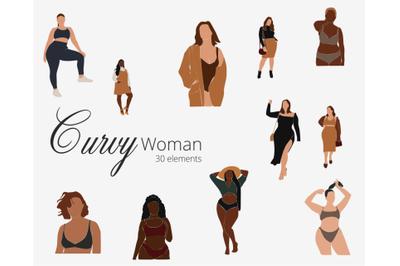 Curvy Woman SVG,  abstract clip art, curvy girls, black woman, african
