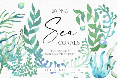 Watercolor coral clipart, Green and Turquoise Seaweeds clipart., Watercolor sea coral reef clipart, for summer wedding, gift packaging