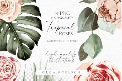 Boho tropical clipart, Watercolor boho roses clipart,  palm leaves png