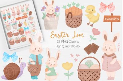 Cute Watercolor Easter Clipart Set