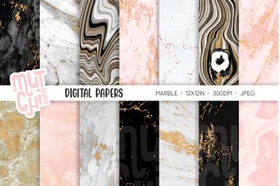 Gold Marble Digital Paper Set