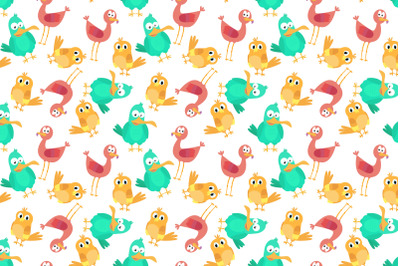 cute colorful bird animal cartoon pattern