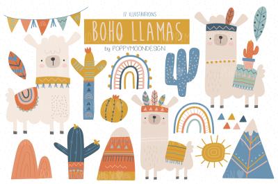 Boho Llama clipart set