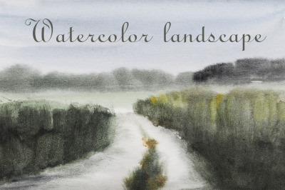 watercolor nature and landscape with tree and road