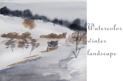 watercolor landscape and nature simple winter nature and tree and rive