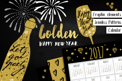 Golden Happy New Year set