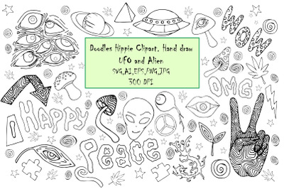 Doodles Hippie clipart.Hand daraw UFO and Alien,abstract SVG