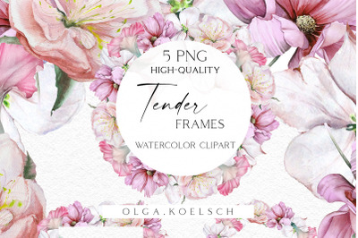 Watercolor boho flowers clipart, Wedding pink floral border clipart,