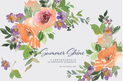 Watercolor Orange and Purple Floral Clipart  Set