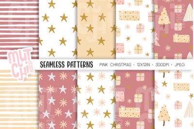 Pink Scandinavian Christmas Patterns Set