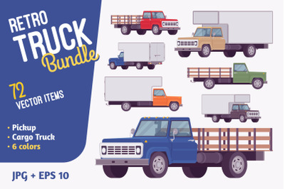 Retro truck vehicle bundle